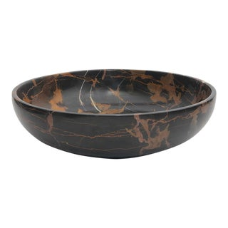 Black & Gold Marble Bowl For Sale