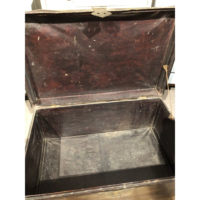 19th Century Chinese Leather Trunk For Sale - Image 11 of 13
