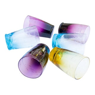 Korean Shot Glasses | Colorful Handblown Etched Glass For Sale