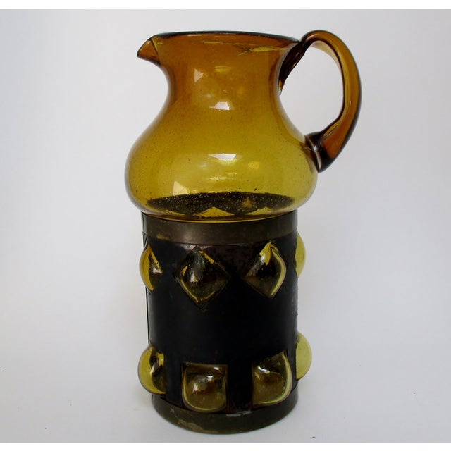 Metal Imprisoned Glass Pitcher For Sale - Image 7 of 7