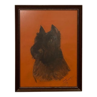 Vintage Charcoal Sketch of a Schnauzer For Sale