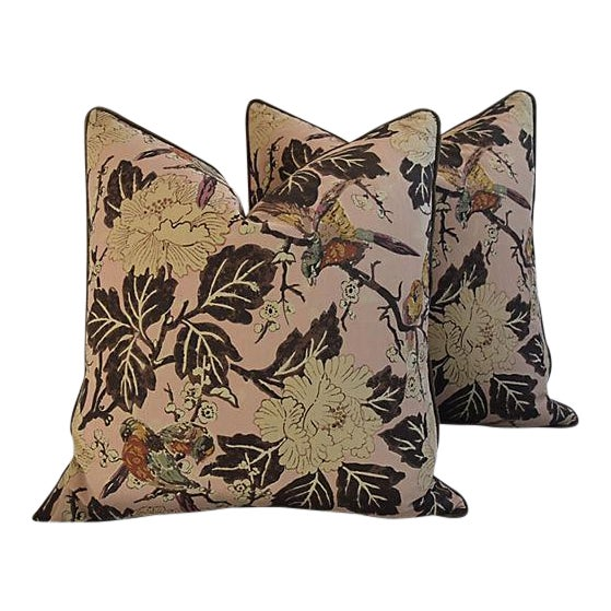 """Custom Chinoiserie Floral & Birds Feather/Down Pillows 26"""" Square - Pair For Sale - Image 12 of 12"""