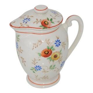Vintage Mid-Century Japan Ceramic Floral Design Lidded Syrup Pitcher For Sale