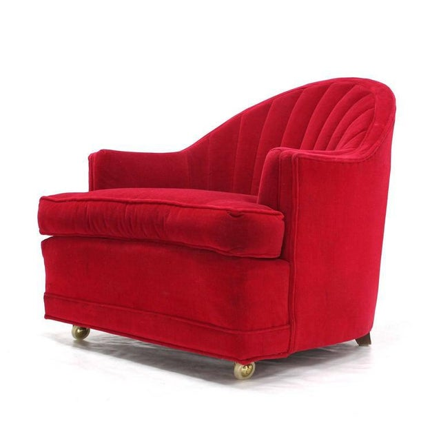 Birch Red Upholstery Barrel Scallop Shape Back Lounge Chairs - A Pair For Sale - Image 7 of 10