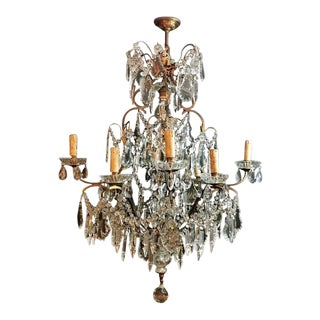 Chandelier With Crystals in Maria Teresa Style Venice Italy 1880 For Sale