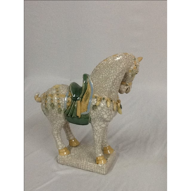Italian Ceramic Crackle Horses - A Pair For Sale - Image 4 of 6