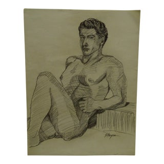 "1955 Mid-Century Modern Original Drawing on Paper, ""Sexy Nude Man"" by Tom Sturges Jr"