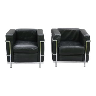 Le Corbusier French Leather Lounge Chairs - a Pair