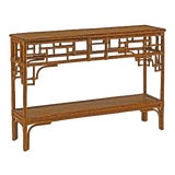 Image of Pagoda Console, Small, Brown, Rattan For Sale