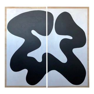 The Big Swim X Hannah Polskin Black and White Abstract Diptych For Sale
