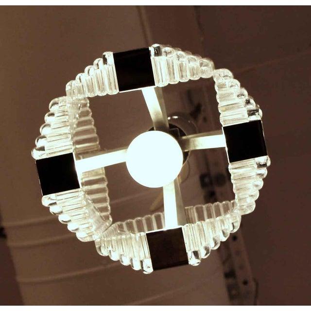 1960s Mid-Century Glass Chrome Pendant Light For Sale In New York - Image 6 of 8