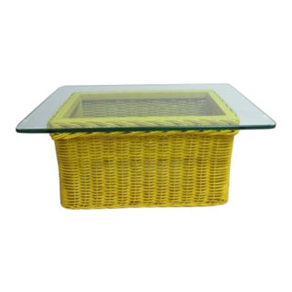 Drexel Yellow Wicker & Glass Top Coffee Table For Sale