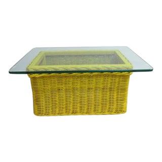 Drexel Yellow Wicker & Glass Top Coffee Table