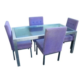 Mid Century Modern Selig Glass Top Dining Set - 5 Pieces For Sale