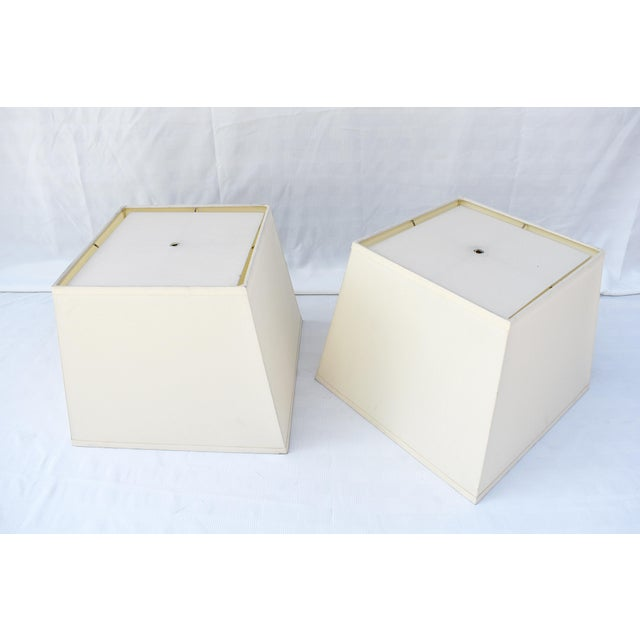 """Pair of Handmade Ivory Silk Lamp Shades with Diffusers 12"""" top x 16"""" bottom x 13""""h"""