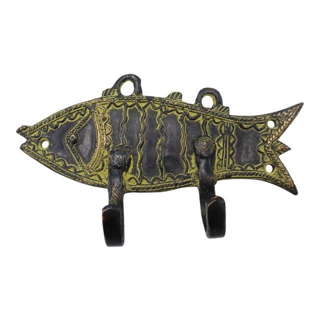 Bohemian Green Brass Fish Wall Hooks For Sale