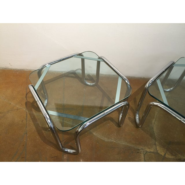 Vintage Chrome & Glass End Tables - A Pair - Image 5 of 6