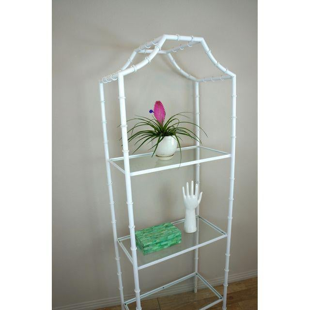 Metal White Faux Bamboo Etagere Shelf For Sale - Image 7 of 8