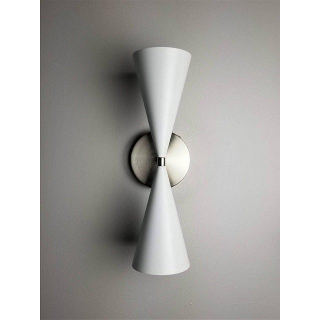 Mid-Century Modern Modern Satin Nickel + White Enamel 'Tuxedo' Wall Sconce by Blueprint Lighting Nyc For Sale - Image 3 of 3