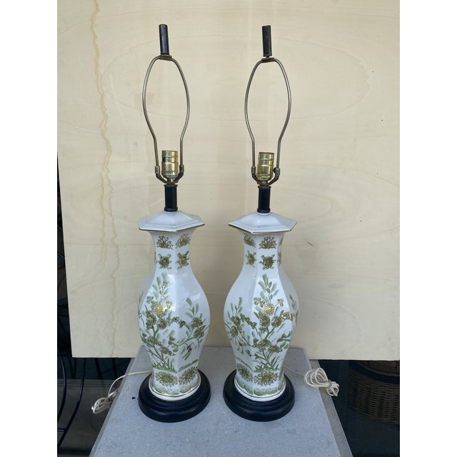 Oriental Style With Flowers Lamps - A Pair For Sale - Image 10 of 10