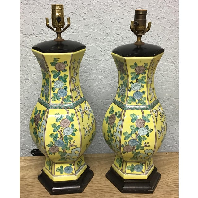 Vintage Pair Chinese Famille Juane Style Lamps For Sale - Image 9 of 9