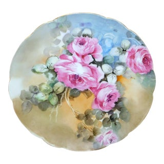Haviland France Floral Hand-Painted Plate For Sale