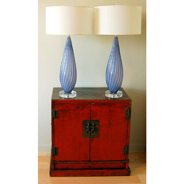 1950s Vintage Murano Opaline Glass Table Lamps Lavender For Sale - Image 5 of 9