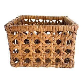 Vintage Woven Cane Square Basket Napkins Holder For Sale