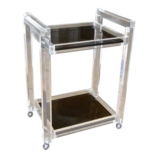 1980s Mid-Century Modern Lucite 2 Tier Smoke Glass Bar Cart For Sale