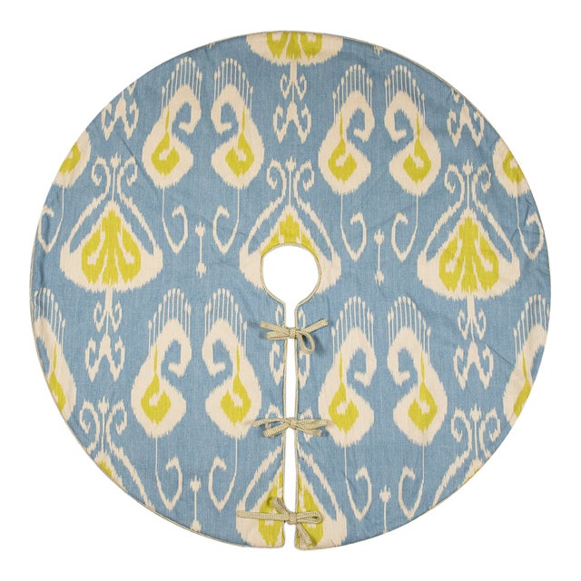 Contemporary Blue and Green Ikat Tree Skirt For Sale