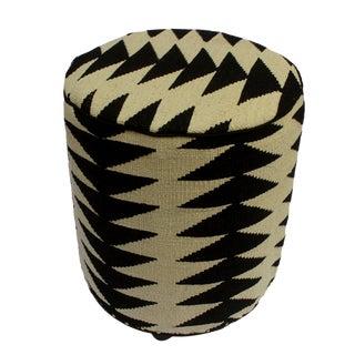 Arshs Dayle Ivory/Black Kilim Upholstered Handmade Ottoman For Sale