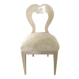 Accent Bespoke Side Chair With Artistic Flair With Cream Fabric-By Mike Bell For Sale