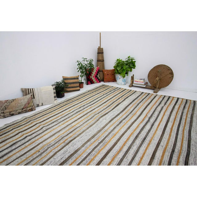 1960s Vintage Striped Kilim Rug- 6′10″ × 8′10″ For Sale In Los Angeles - Image 6 of 7
