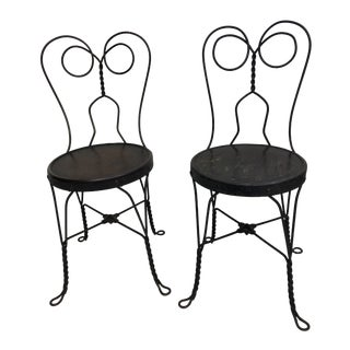 Vintage Metal Ice Cream Parlor Chairs - a Pair For Sale