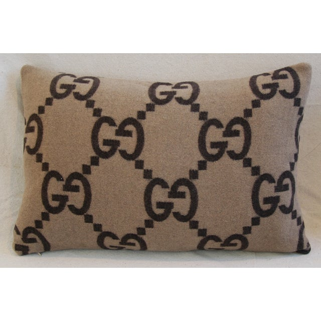 """23"""" X 16"""" Custom Tailored Gucci Cashmere & Velvet Feather/Down Pillows - Pair For Sale - Image 11 of 11"""
