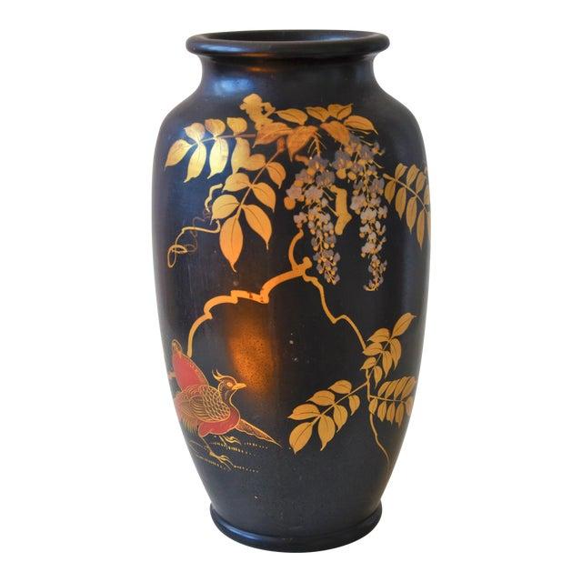 Antique Japanese Black Lacquered Vase Chairish