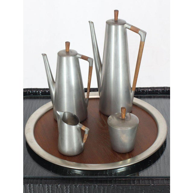 Five Pieces Mid-Century Modern Tea Coffee Set by Royal Holland Pewter Teak For Sale - Image 13 of 13