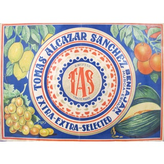 1920's Original Spanish Art Deco Vegetable Crate Label - Tas - Tomas Alcazar Sanchez From Murcia Spain Preview