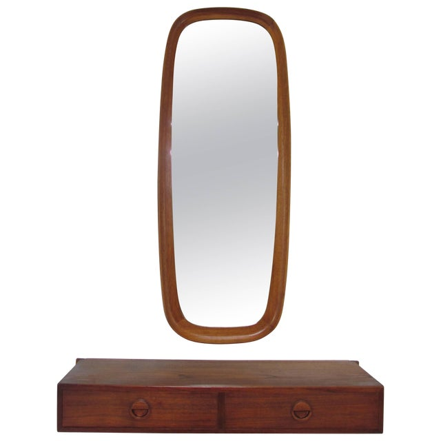 Danish Teak Hall Shelf and Mirror by Hansen and Guldborg For Sale