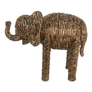 Vintage Wicker Elephant For Sale