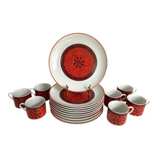 1950s Greek Inspired Blood Orange Plate & Mug Set of 17 For Sale