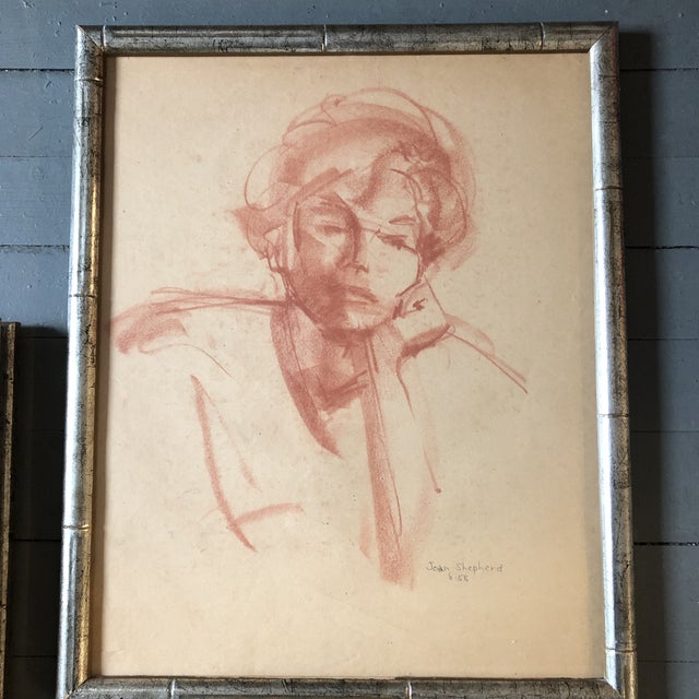 Figurative Gallery Wall Collection 3 Original 1950's Sepia Female Portrait Drawings For Sale - Image 3 of 7