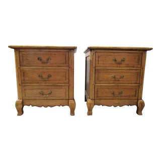 Distress Pine With Honey Color Finish Nightstands - A Pair For Sale