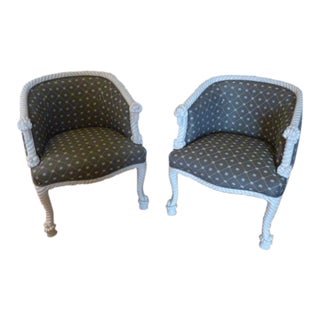 1970's Twisted Rope Arm & Leg Overstuffed Lounge Chairs - A Pair