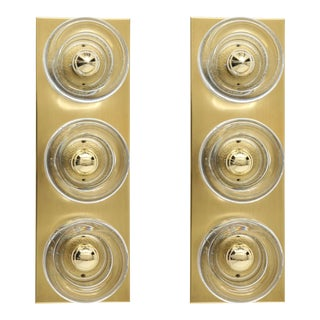 Vintage Italian Sciolari Style 3-Light, Brass Sconces - a Pair For Sale