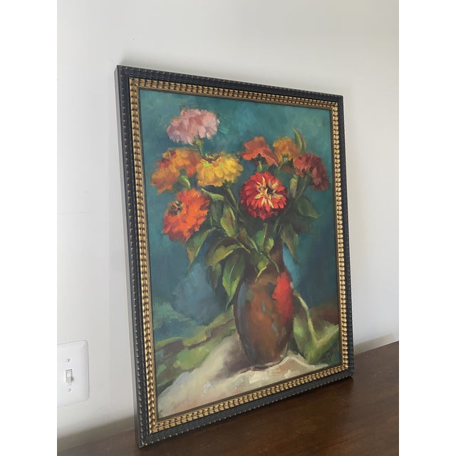 Shabby Chic Late 20th Century Original Still Life of Flowers Oil Painting, Framed For Sale - Image 3 of 13