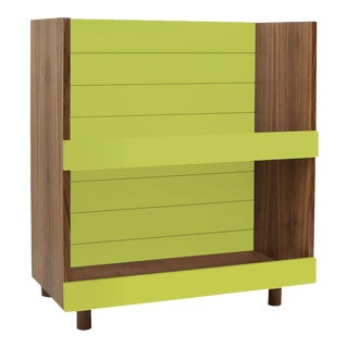 "Minimo Modern Kids 31"" Bookcase in Walnut With Green Finish For Sale"