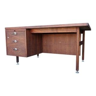 Mid-Century Modern Jens Risom Walnut Tanker Desk For Sale
