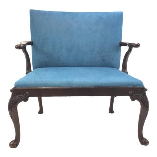 Antique Traditional Scottish Mahogany Settee With Turquoise Cowhide For Sale