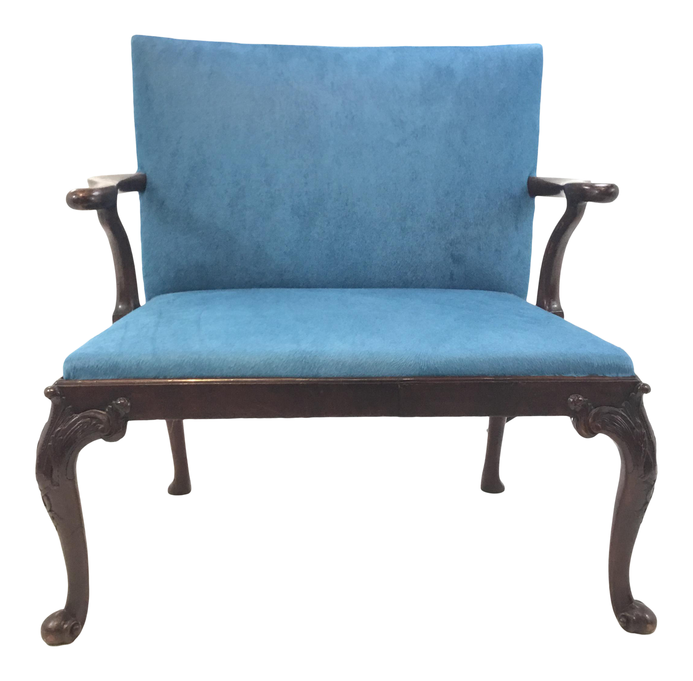 Antique Traditional Scottish Mahogany Settee With Turquoise Cowhide